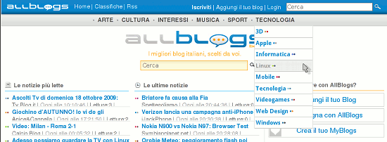 Homepage di AllBlogs