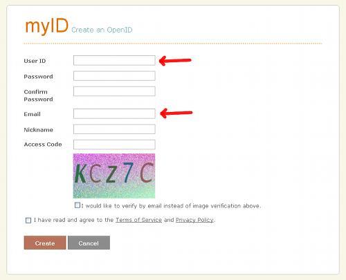 Modulo registrazione MyID.net